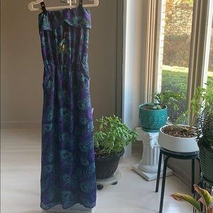 Peacock Feather Maxi Dress